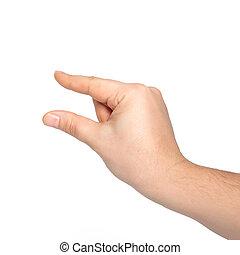 vasthouden, mannelijke , vrijstaand, voorwerp, hand