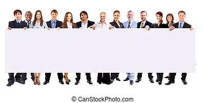 vasthouden, mensen, spandoek, zakelijk, achtergrond, lengte, vrijstaand, volle, roeien, velen, leeg, witte