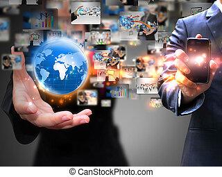 vasthouden, mensen zaak, sociaal, media