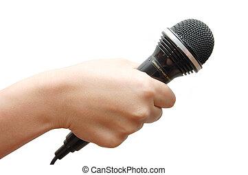 vasthouden, microfoon, achtergrond, vrouwenhand, witte