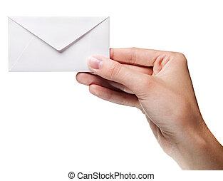 vasthouden, van een vrouw, enveloppe, vrijstaand, hand, gesloten