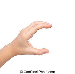 vasthouden, vrouw, vrijstaand, voorwerp, hand
