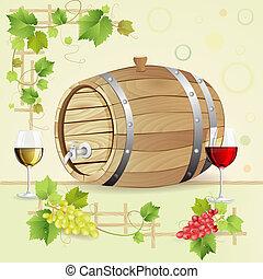 vat, bril, wijn druiven