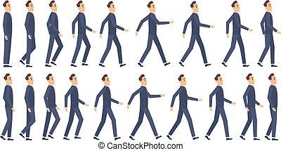 vector, 2d animatie, spel, animation., klee, mascotte, wandelende, karakters, sprite, spotprent, lijstjes, zakelijk