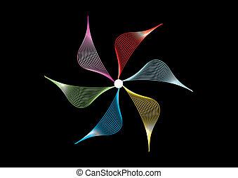 vector, abstract, set, zwarte achtergrond