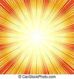 (vector), achtergrond, abstract, zonnestraal, sinaasappel