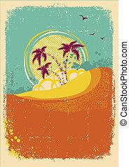 vector, achtergrond, oud, eiland, tropische , grunge, ouderwetse
