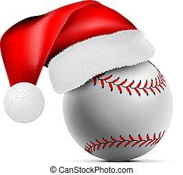vector, bal, illustratie, santa claus, hat., honkbal