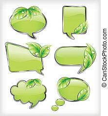 vector, banieren, leaf., groene, illustratie