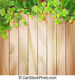 vector, bladeren, hout, groene achtergrond, texture.