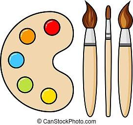vector, blobs, houten, borstels, verf , kunst, palet