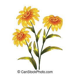 vector, bloemen, gele