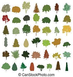 vector, bomen., set, silhouette, retro