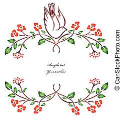 vector, branch., bloem, vogel, zittende