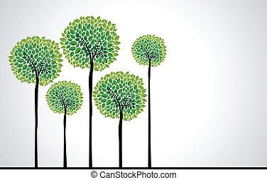 vector, concept, modieus, bomen