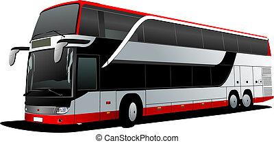 vector, decker, coach., dubbel, rood, bus., illustratie, toerist
