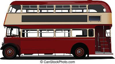 vector, decker, dubbel, rood, ziek, bus.