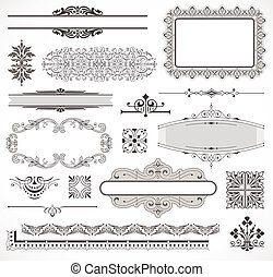 vector, decor, set, pagina, communie