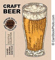 vector, drank, beer., alcohol, glas, hand, getrokken, illustratie, schets