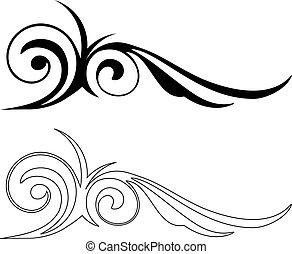 vector, elegantie, elements., illustratie, twee