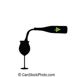 vector, fles, wijntje
