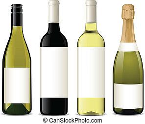 vector, flessen, wijntje