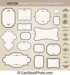 vector, frame, set, ornament, sierlijk