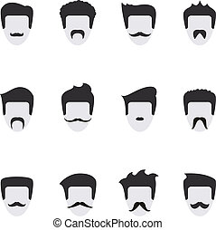 vector, gezicht, set, mustache, iconen