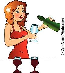 vector, gieten, vrouw, glas., wijntje