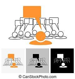 vector, grafisch, &, ), (, -, klesten, concept, toespraak, bellen, leider, personeel