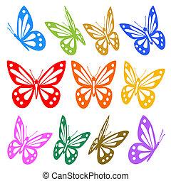 vector, grafisch, kleurrijke, -, silhouettes, vlinder, set
