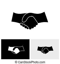 vector, grafisch, zakelijk, &, -, hand, concept, black , schudden, witte , pictogram