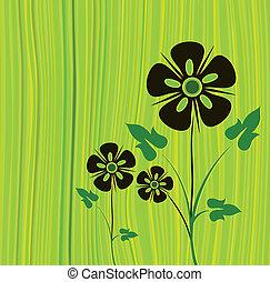 vector, groene, bloem, achtergrond