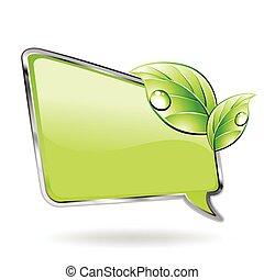 vector, groene, leaf., spandoek