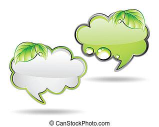 vector, groene, leaf., spandoek, wolk