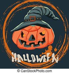 vector, halloween., pompoen, illustration., boos, o, dommekracht, halloween, tekst, schattig, lantaarntje
