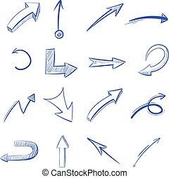 vector, hand, getrokken, gebogen, pijl
