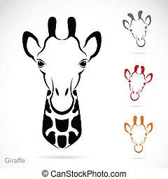 vector, hoofd, giraffe, beeld