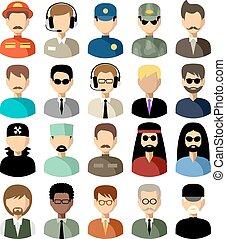 vector, iconen, set, plat, men., illustratie