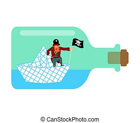 vector, illustratie, papier, bottle., zeerover, scheepje