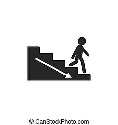 vector, illustratie, wandelende, upstair, mensen, dons
