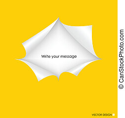 vector, illustration., ruimte, gescheurd, text., papier