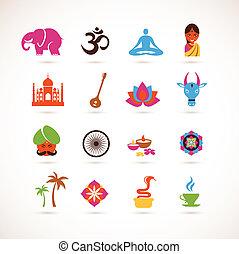 vector, india, verzameling, iconen