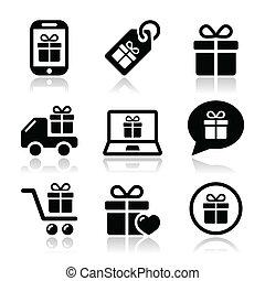 vector, kado, set, shoppen , iconen
