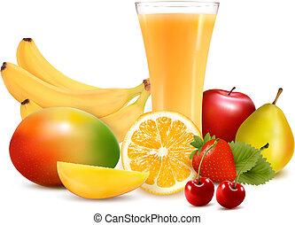 vector, kleur, illustratie, fruit, juice., fris