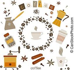 vector, koffie, communie, ontwerp, verzameling
