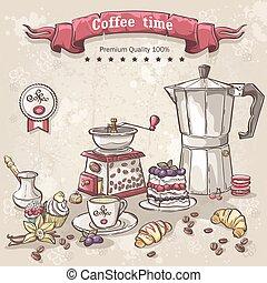 vector, koffie stel, kop, variëteit, pot, zoetigheden, turken
