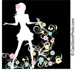 vector, lente, illustratie, achtergrond, zwart meisje, bloemen, curlicue