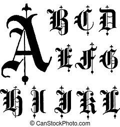 vector, lettertype, gotisch, middeleeuws, a-l