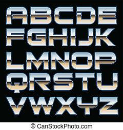 vector, lettertype, metaal